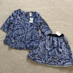 Crewcuts girls top/skirt set size 6-7